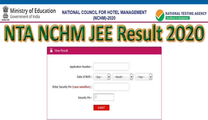 NTA NCHM JEE Result 2020